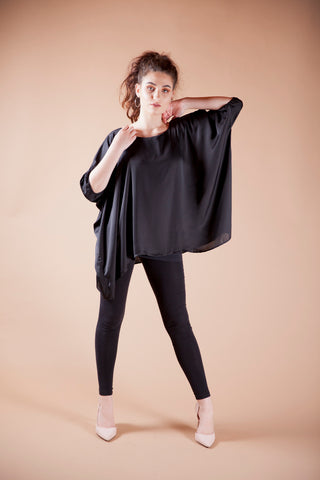 Black Satin Boxy Top