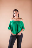 Emerald Green Bell Sleeve Cold Shoulder Top