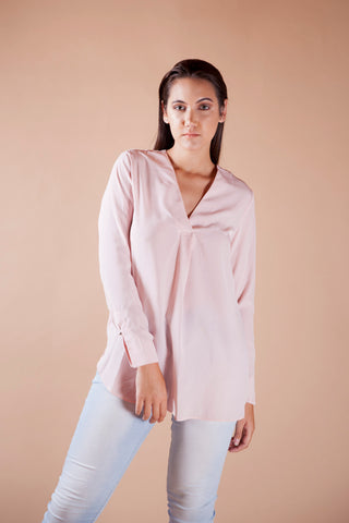 Pink V-Pleat Tunic