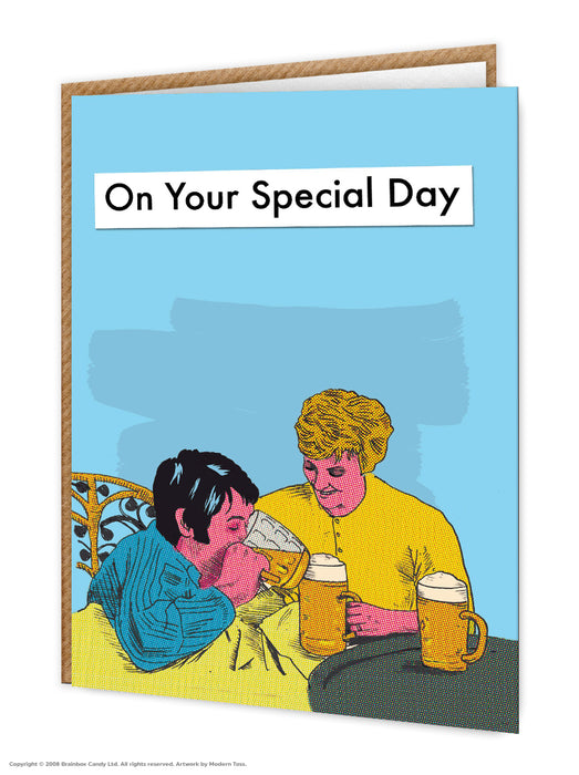 Beer in bed card-on your special day - Maktus