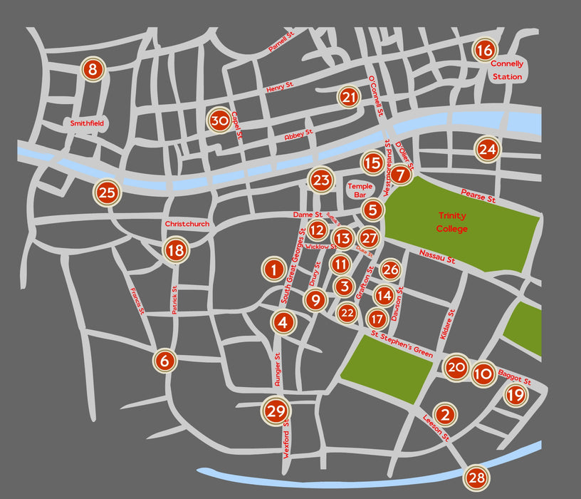 Dublin Pubs Scratch Map - Maktus