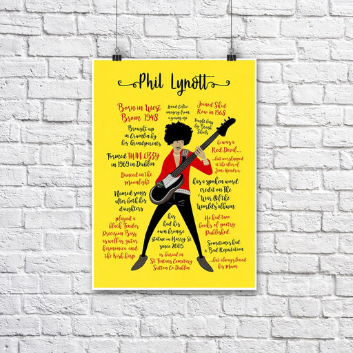 Phil Lynott Facts & Figures A3 yellow + white