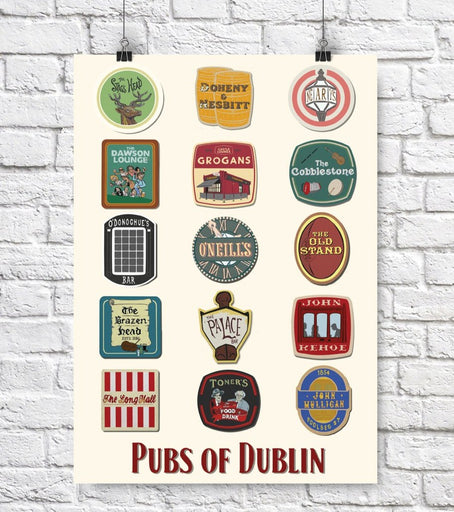 15 Dublin Pubs in coasters A3 Print