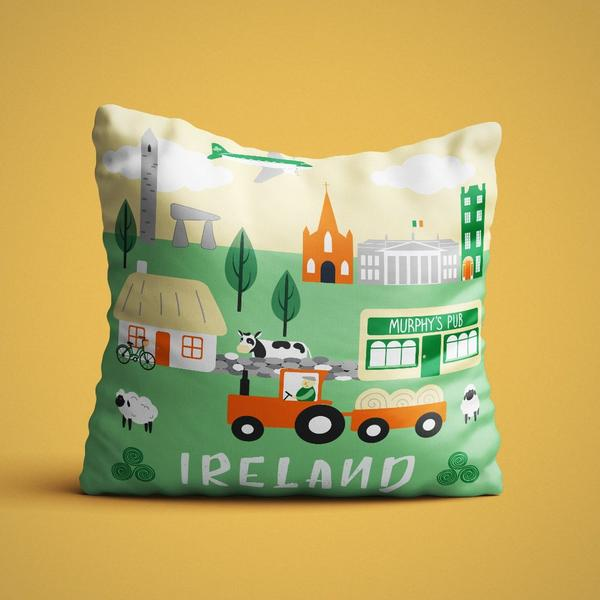 Ireland cartoon cushion cover - Maktus