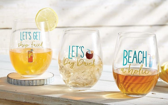 Beach Drinks Stemless Wine Glass