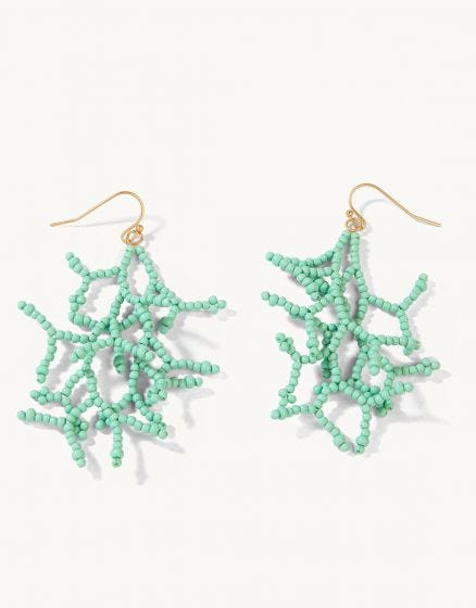 Beaded Coral Earrings