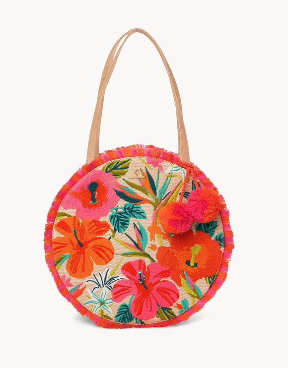 Embroidered Fringe Round Tote in Moreland
