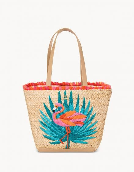 Embroidered Straw Tote in Moreland