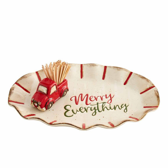 Merry Christmas Toothpick Holder and Tray Set