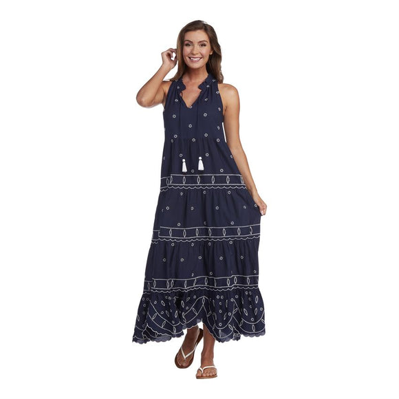 Gisele Embroidered Maxi Navy