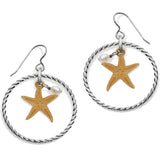 Under The Sea Floating Starfish French Wire Earrings