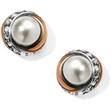 Neptune's Rings Pearl Button Earrings