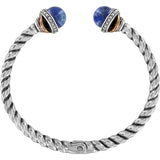 Neptune's Rings Brazil Blue Quartz Open Hinged Bangle