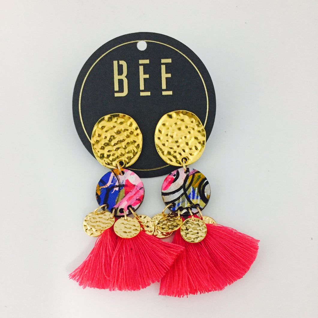 'BEE' Halle Drops Bright Pink Tassel