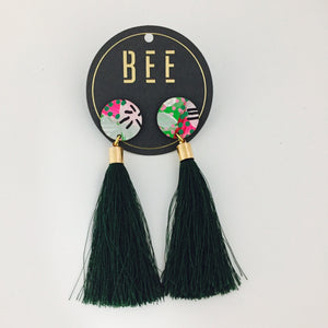 'BEE' Molly Drops Forest Green Tassel