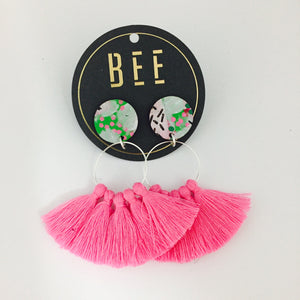 'BEE' Linda Drops Light Pink Tassel