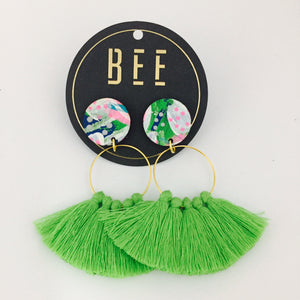 'BEE' Linda Drops Lime Tassel