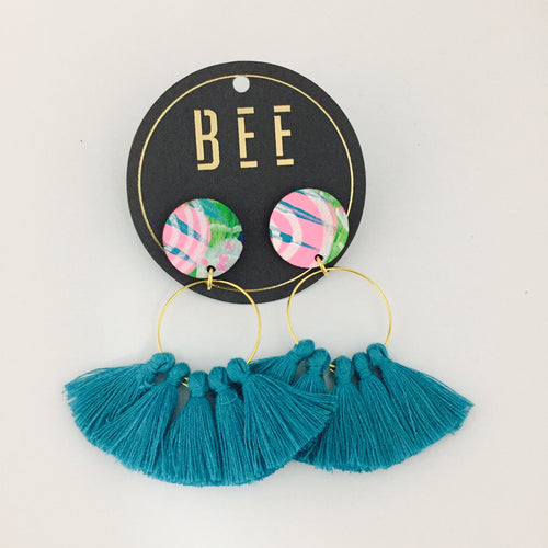 'BEE' Linda Drops Blue Tassel