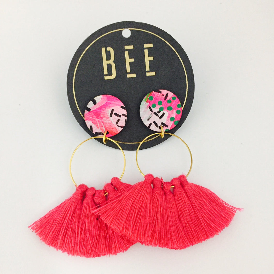 'BEE' Linda Drops Bright Pink Tassel