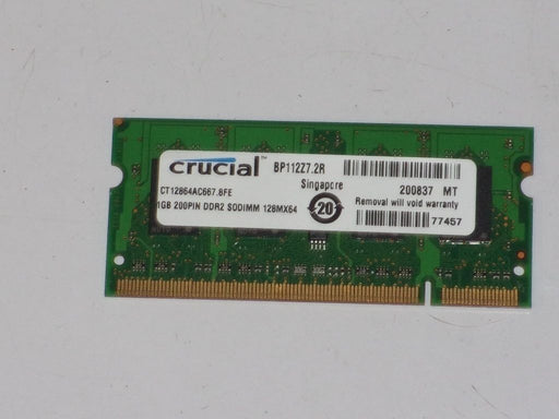 Crucial 1 GB PC2-5300 DDR2-667 Laptop Memory RAM Sodimm CT12864AC667.8FE