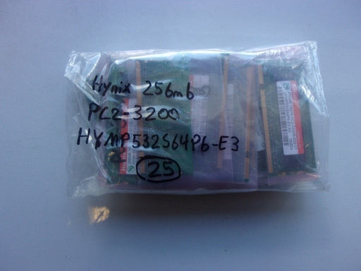 Lot of 25 Hynix 256 MB PC2-3200 DDR2-400 Laptop Memory RAM HYMP532S64P6-E3