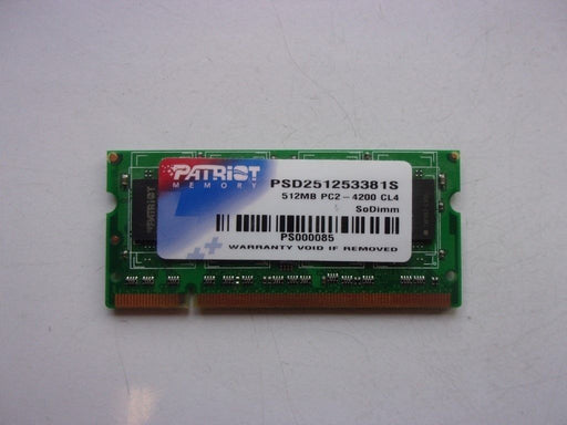 Patriot 512 MB PC2-4200 DDR2-533 Laptop Memory RAM Sodimm PSD251253381S