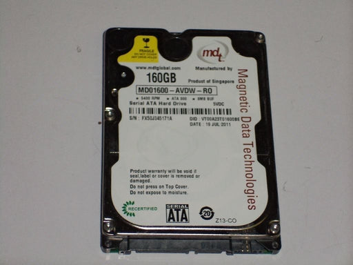 "MDT 2.5"" SATA 160 GB 5400 RPM HDD Laptop Hard Drive MD01600-AVDW-R0"
