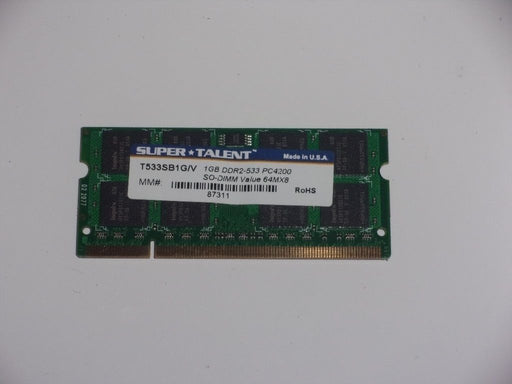 Super Talent 1 GB PC2-4200 DDR2-533 Laptop Memory RAM Sodimm T533SB1G/V