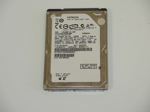 "Hitachi 2.5"" SATA 160 GB 5400 RPM HDD Laptop Hard Drive HCC545016B9A300"