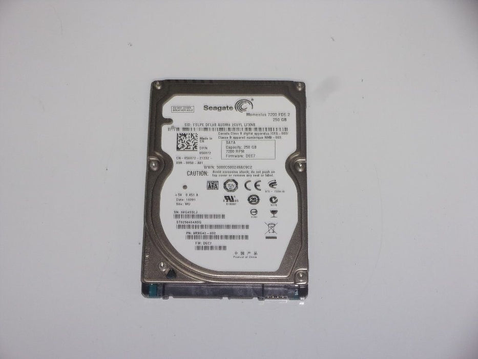 "Seagate 2.5"" SATA 250 GB 7200 RPM HDD Laptop Hard Drive ST9250464ASG"