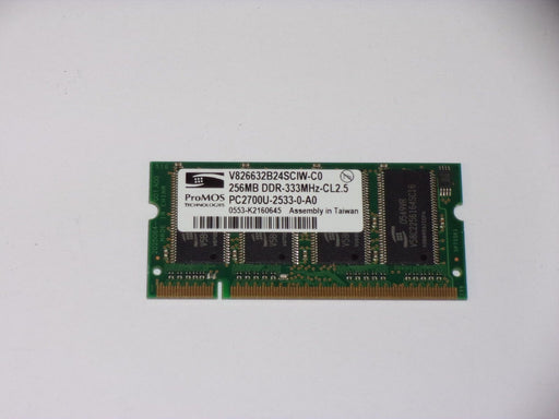 ProMOS 256 MB PC2700 DDR-333 333MHz Laptop Memory RAM V826632B24SCIW-C0