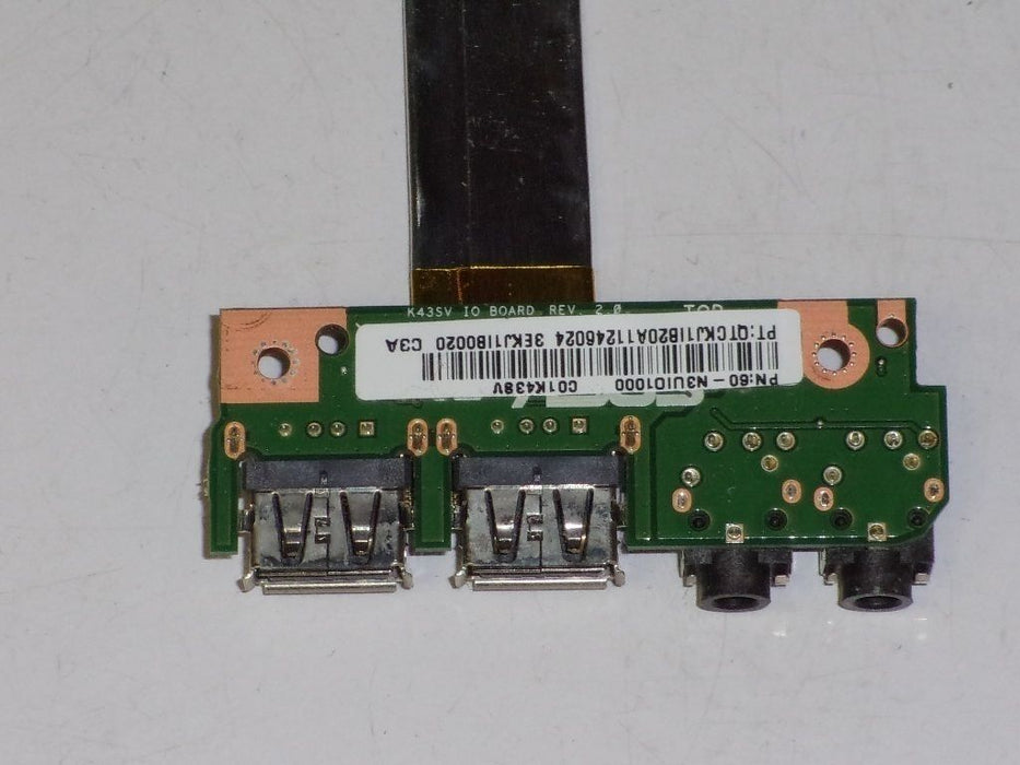 Asus A43SV Audio Jack USB Port Board W/ Cable 60-N3UIO1000 3EKJ1IB0020 - Discountedlaptopparts