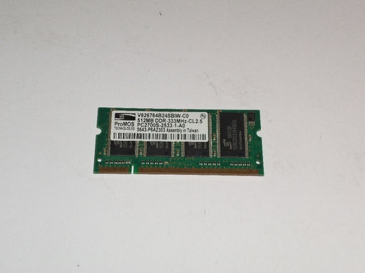 ProMOS 512 MB PC2700 DDR-333 333 MHz Laptop Memory RAM V826764B24SBIW-C0
