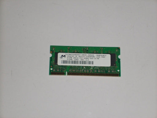 Micron 512 MB PC2-3200 DDR2-400 400MHz Laptop Memory RAM MT8HTF6464HDY-40EB3