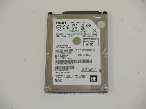 "HGST 2.5"" SATA 1 TB 5400 RPM HDD Laptop Hard Drive HCC541010A9E680"
