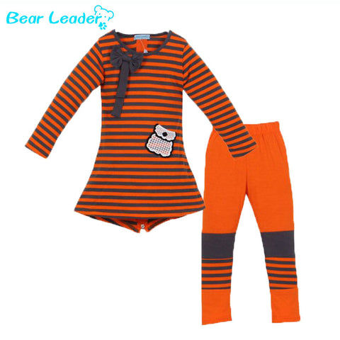 Girls Clothing Set Fashion In Europe And America New Casual Girls Suit Autumn And Winter Striped Long-Sleeved T-Shirt + Leggings