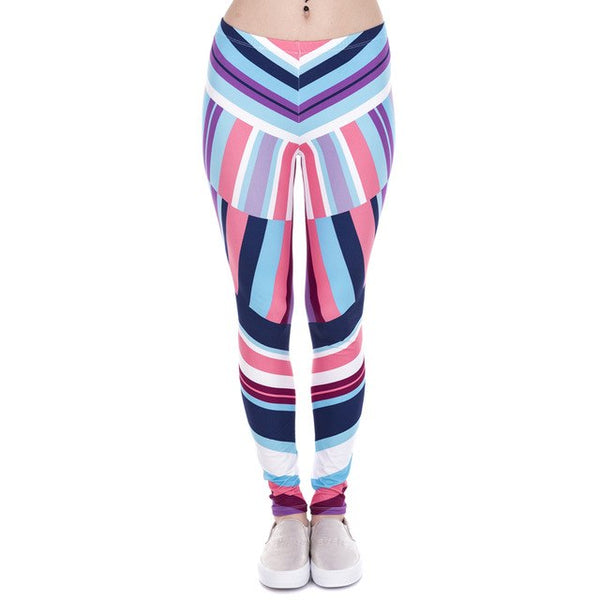 Zohra Leggings African Zig Zag Purple Printing Fitness legging Sexy Silm High Waist Trouser Women Pants