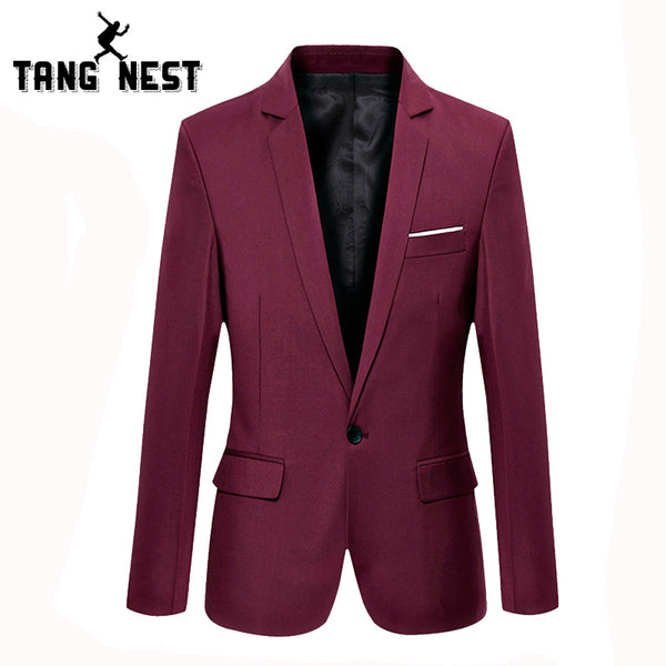 TANGNEST Plus 9 Colors Men Blazer 2017 Fashion Slim Blazer Men Single Breasted Solid Comfortable Men Suit Asian Size MWX261