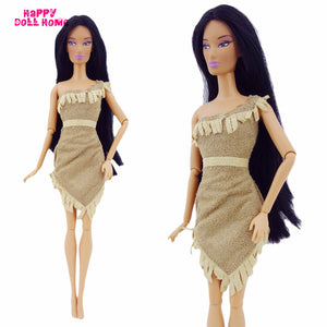 "Fairy Tale Indian Princess Dress For Pocahontas Costume Primitive Tribe Clothes For Barbie FR Doll 11.5"" 12"" Model Accessories"