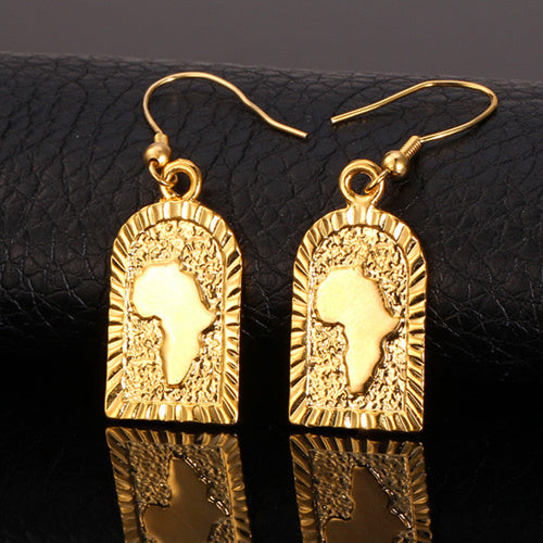 U7 African Jewelry Drop Earrings Wholesale Gold Color Hiphop Africa Map Earrings For Women E470