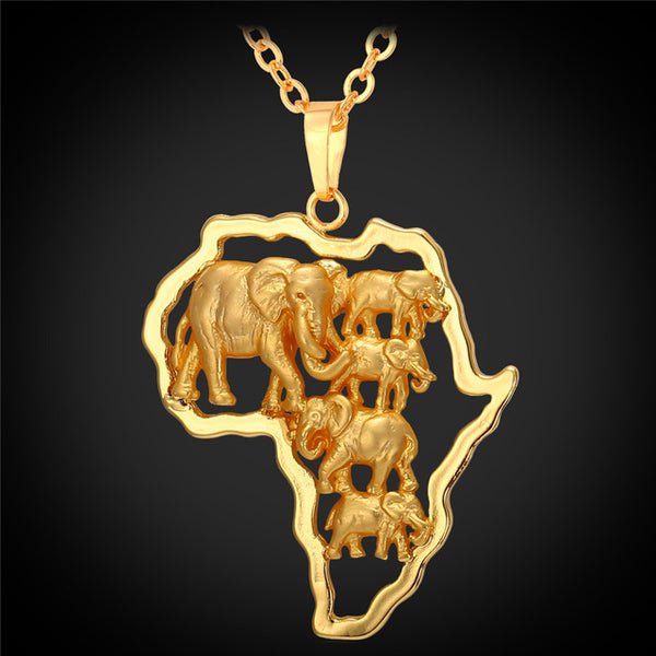 U7 Gold Color Africa Elephant Necklace For Men/Women Fashion African Map Pendant & Chain Hiphop Animal Jewelry Party P773