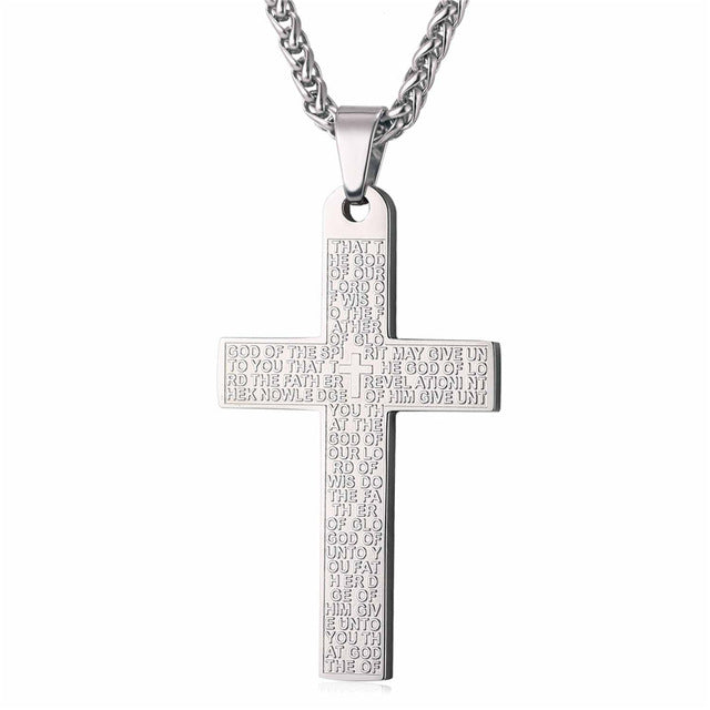 U7 Holy Bible Cross Necklace Gold/Silver Color Stainless Steel Pendant & Chain For Men Gift Christian Jewelry 2017 New Hot P1032