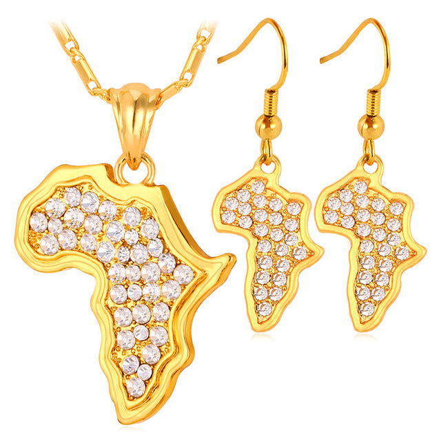 U7 Africa Map Pendant Necklace And Earrings Set Sale Trendy Yellow Gold Color Rhinestone African Jewelry Sets For Women S379