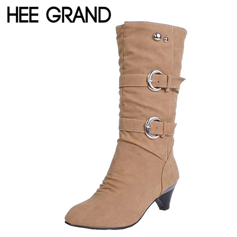 HEE GRAND Low High Heels Women Boots Buckle Mid-Calf Boots Elegant Slip On Pumps Shoes Woman For Ladies Size 35-39 XWX931