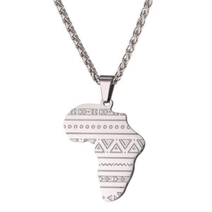 U7 Stainless Steel Gold/ Rose Gold Color Map of Africa Pattern Pendant Necklace Men/Women Hip Hop African Jewelry P1099