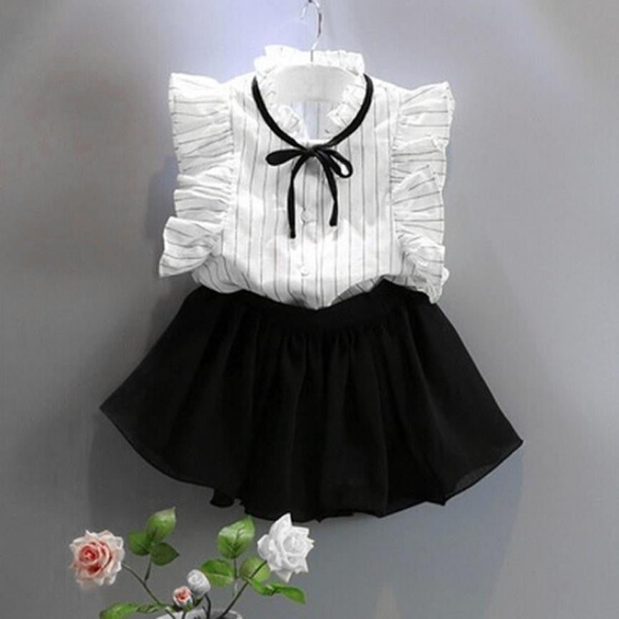 Girls Stripe Shirt Chiffon Culottes Two Pieces Set Clothes Skirt Suit Striped Shirt + Skirt Drop ship