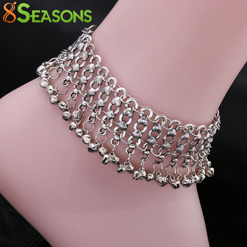 8SEASONS Zinc Alloy Foot Bells Anklets Fashion Foot Jewelry Accessories Beach Anklet Wedding Barefoot Sandles 22cm, 1 PC
