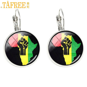 TAFREE Fist On South Africa Map Earrings powerful African people clip on earring Sacred Geometry round dome glass jewelry H563