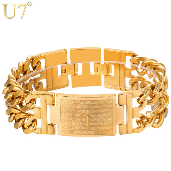 U7 Cross Bible Bracelet Hiphop Jewelry Large Wide Stainless Steel Gold Color Multilayer Cuban Link Bracelet Men Gift for Him H26