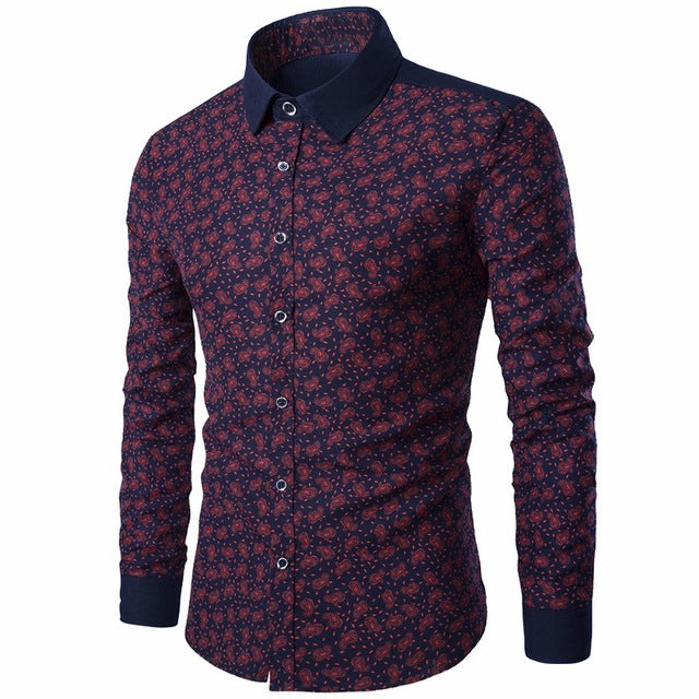 Printed Men Shirts Long Sleeve